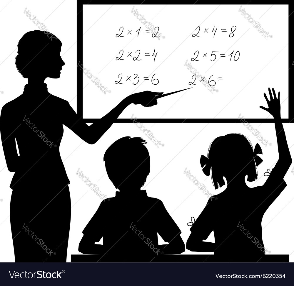 Silhouette of teacher at blackboard with children vector