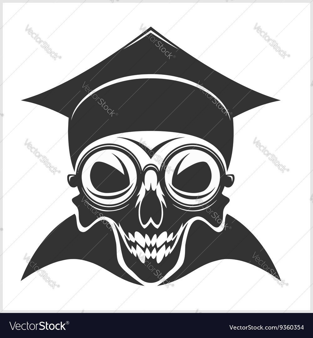 Skull academic in graduation cap vector