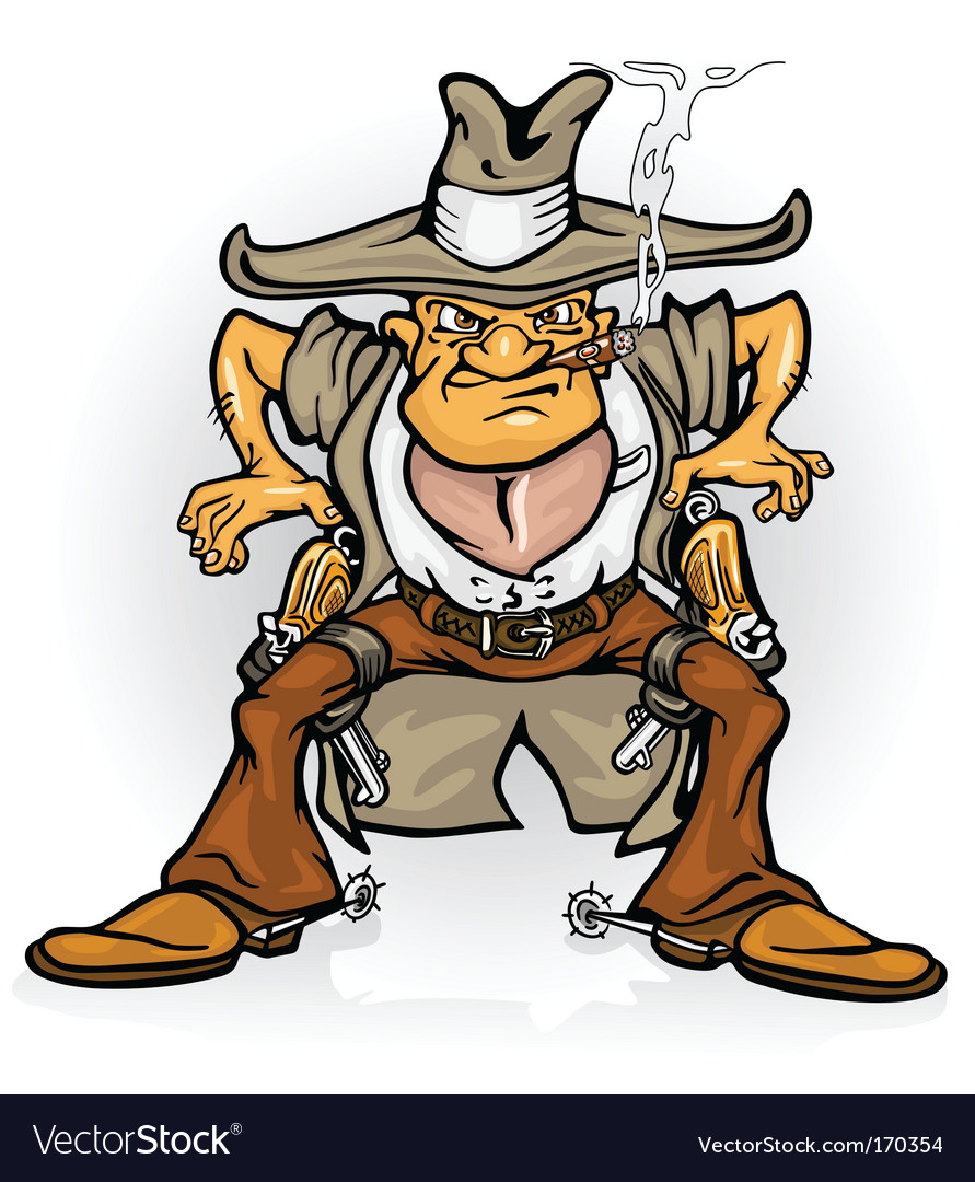 Western cowboy bandit with gun vector