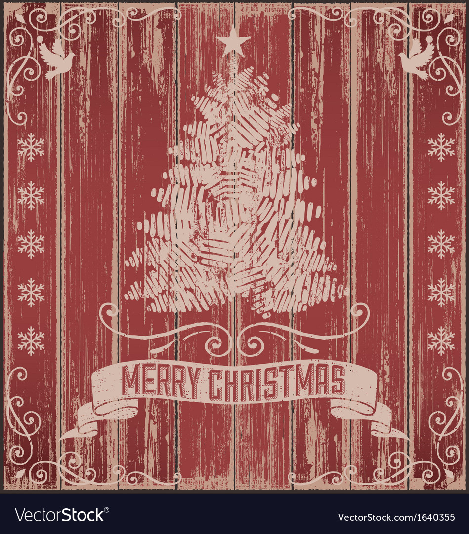 Rustic vintage christmas card vector
