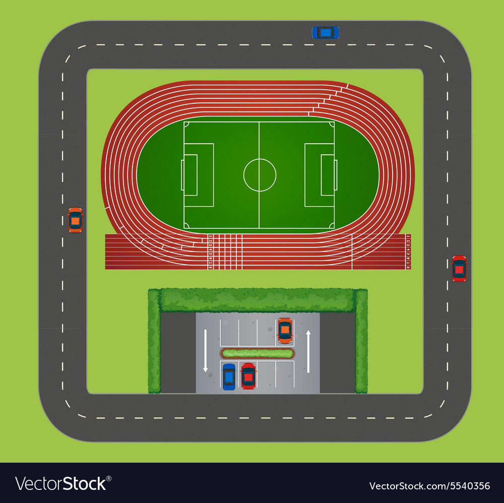 Areial view of sports track vector
