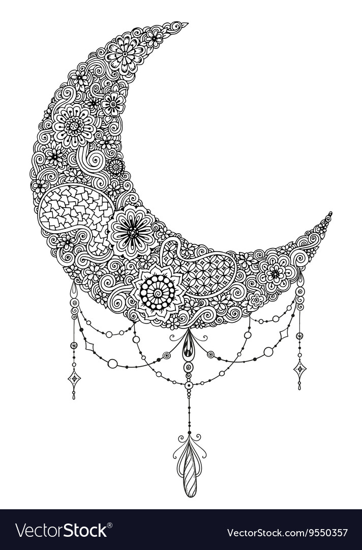 Hand drawn moon with flowers mandalas and paisley vector