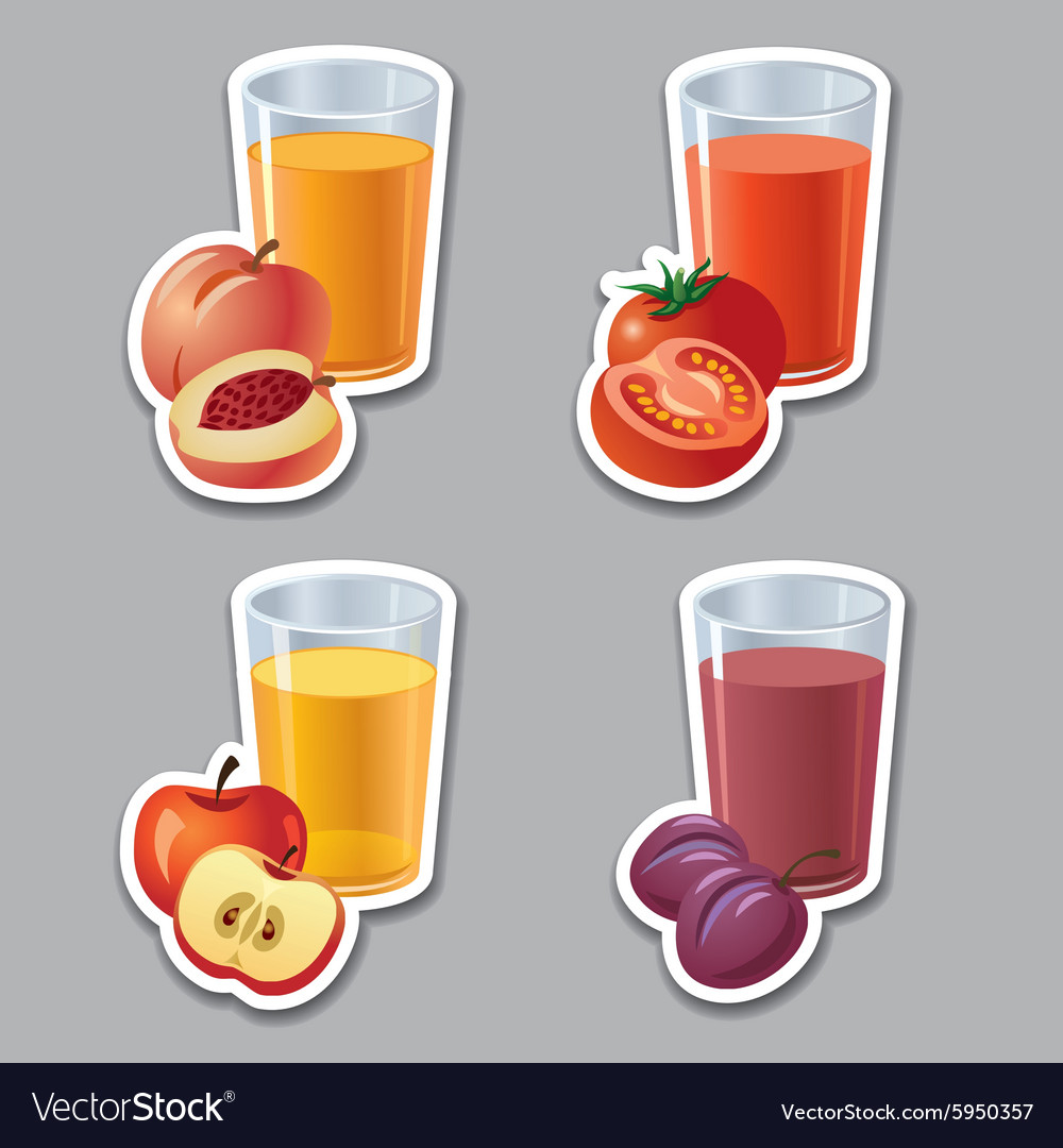 Juice stickers vector