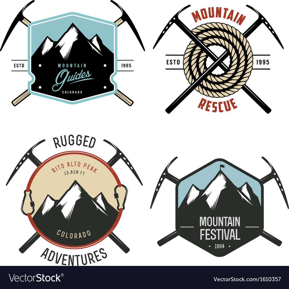 Set of vintage mountain explorer labels and badges vector