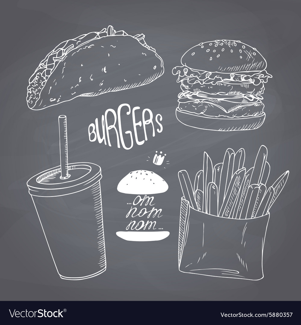Sketched chalk style fast food set with burger vector