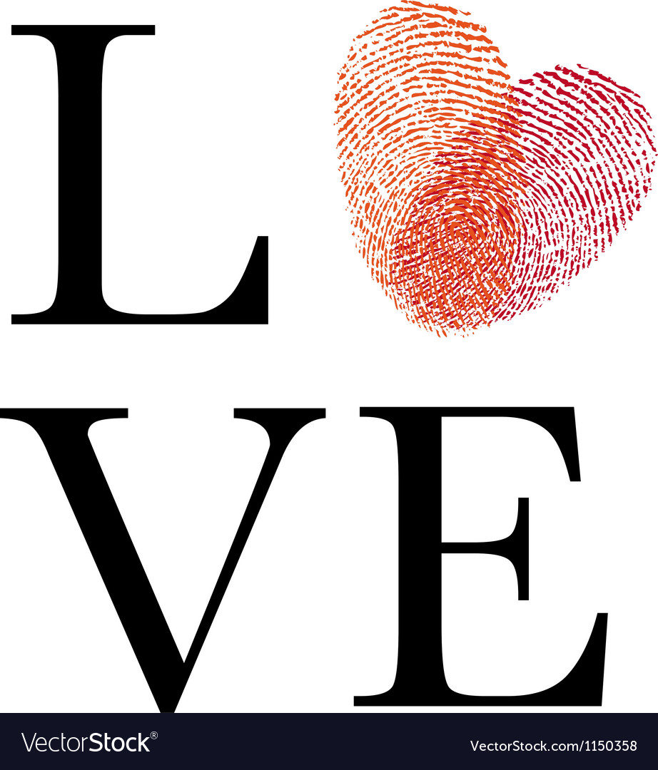 Love with red fingerprint heart vector