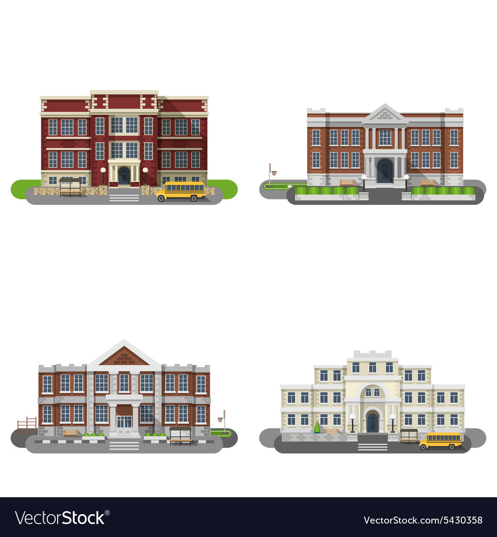 School buildings flat set vector
