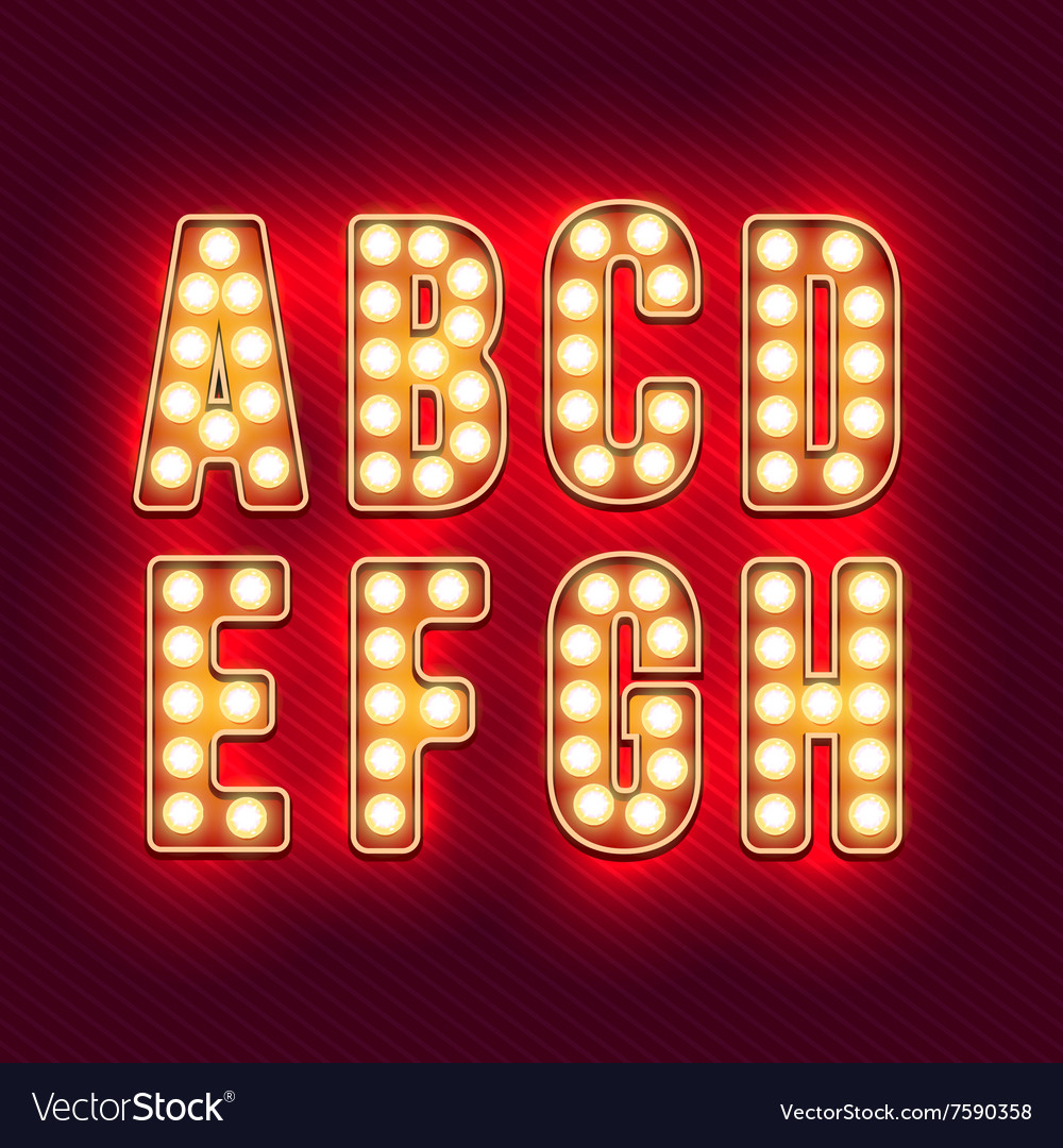 Vintage letters set of retro neon alphabet part vector