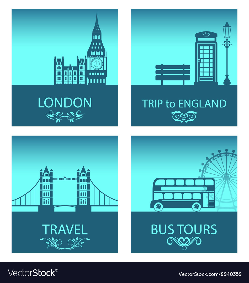Abstract postcards for trip of england with vector
