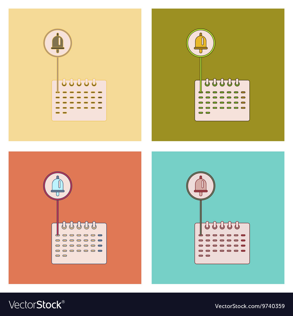 Assembly flat icons school calendar vector