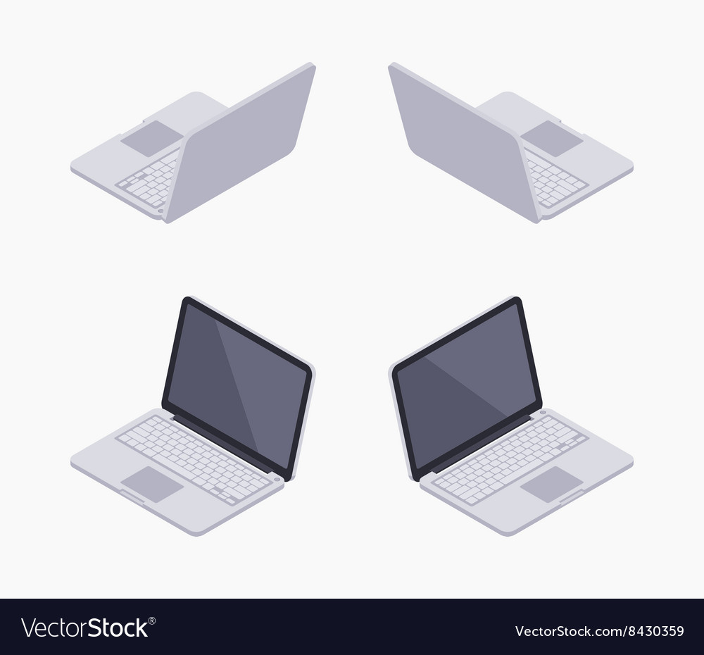 Isometric silver laptop vector