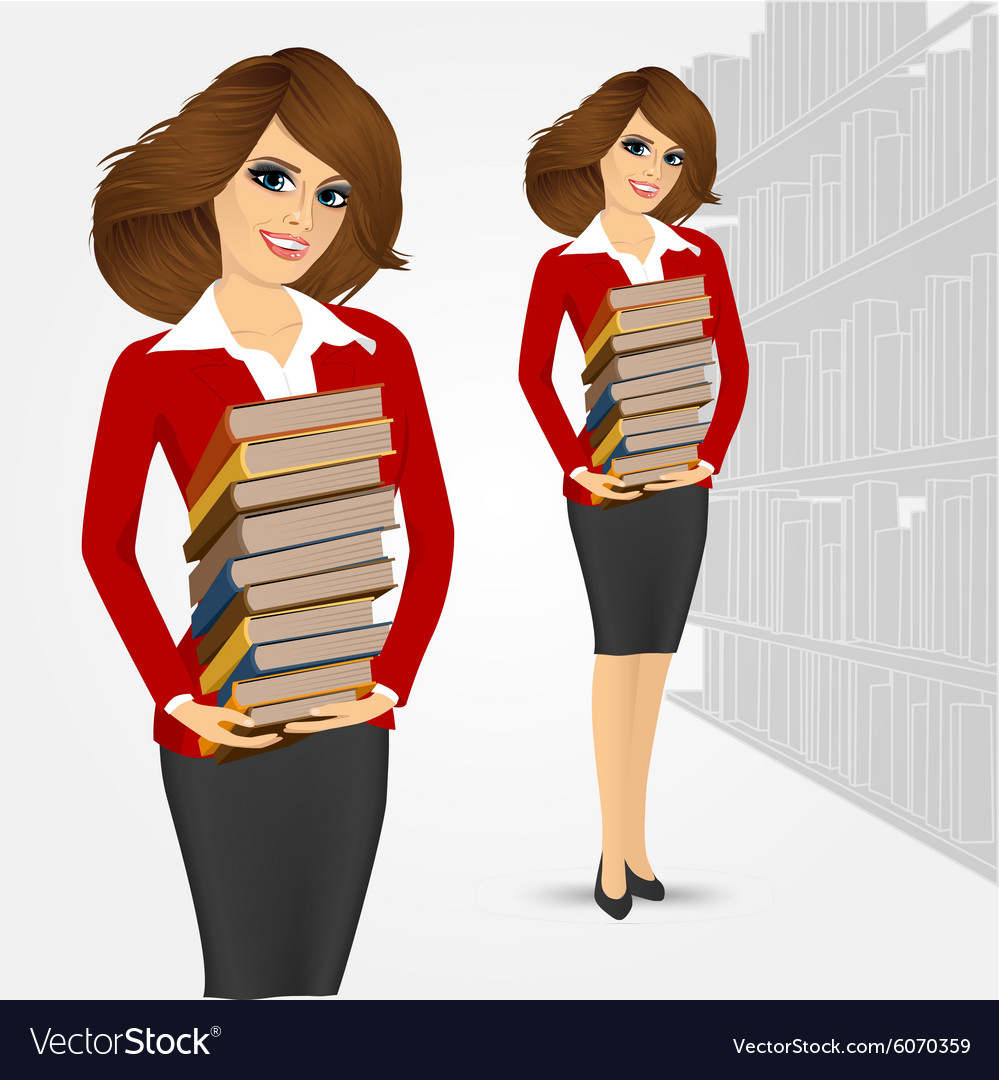 Librarian holding stack of books vector