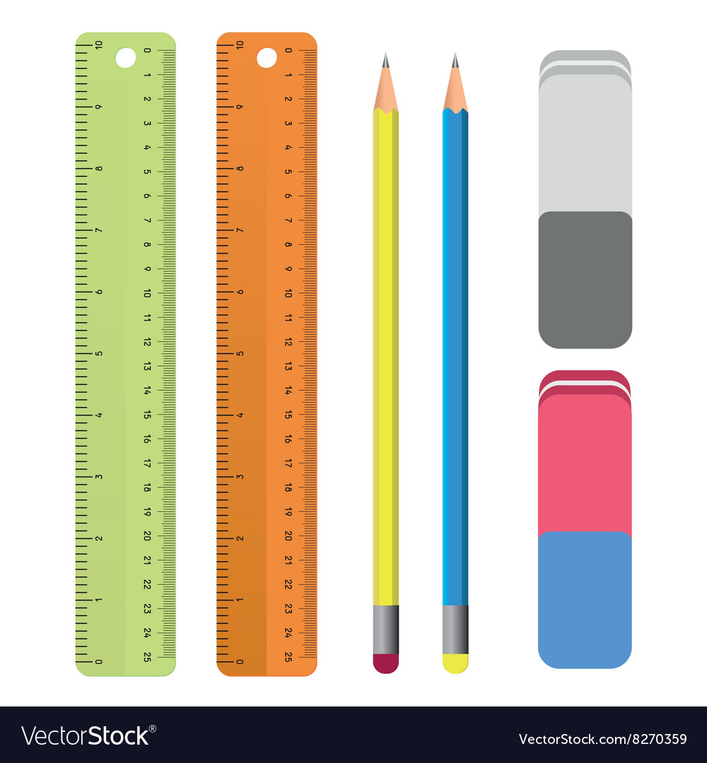 Set of stationery tools outlines ruler pencil vector