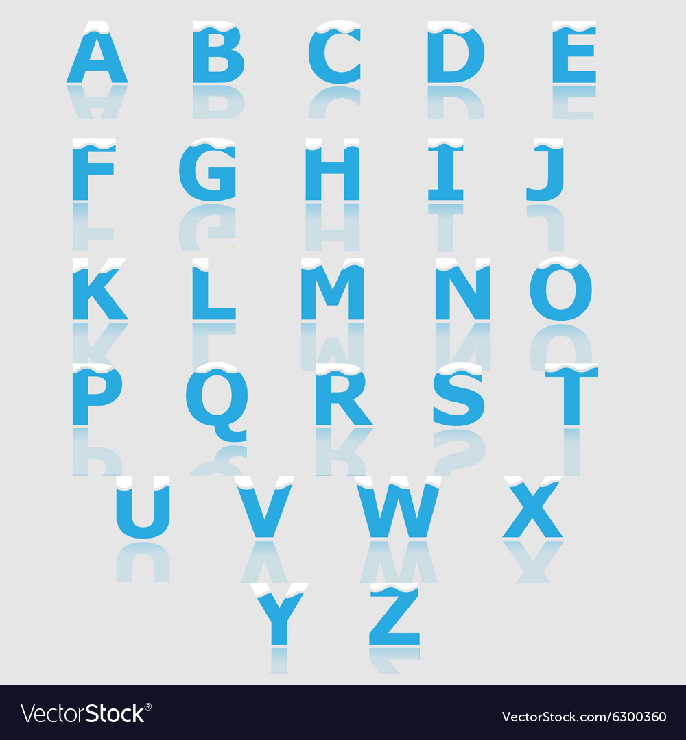 White and blue alphabet set a to z vector
