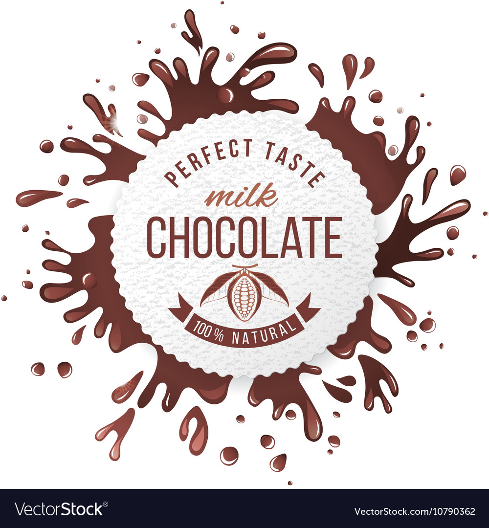 Paper emblem with chocolate splashes vector
