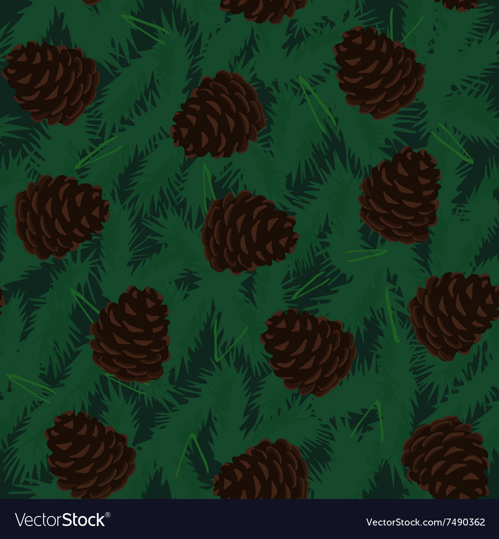 Pine cones seamless pattern vector
