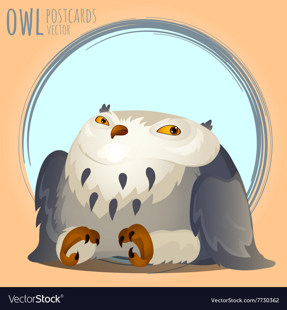 Tapered grey owl cartoon series vector