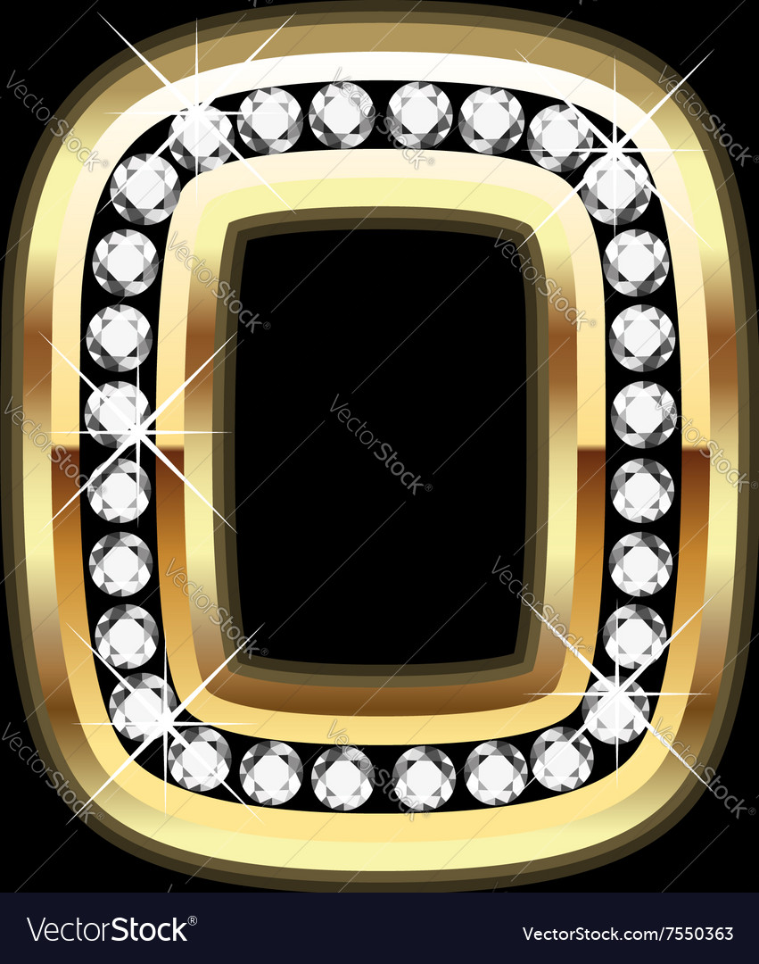 Number zero bling gold and diamonds vector