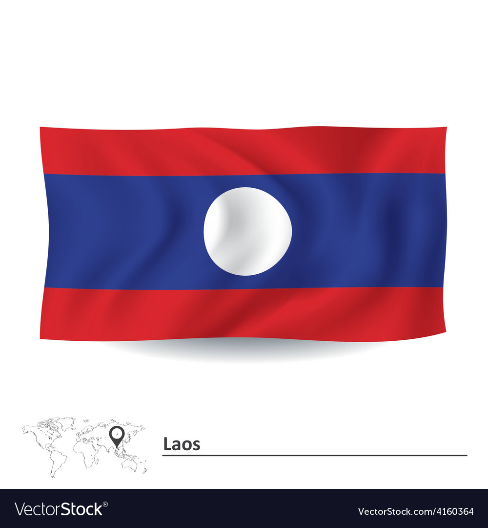 Flag of laos vector