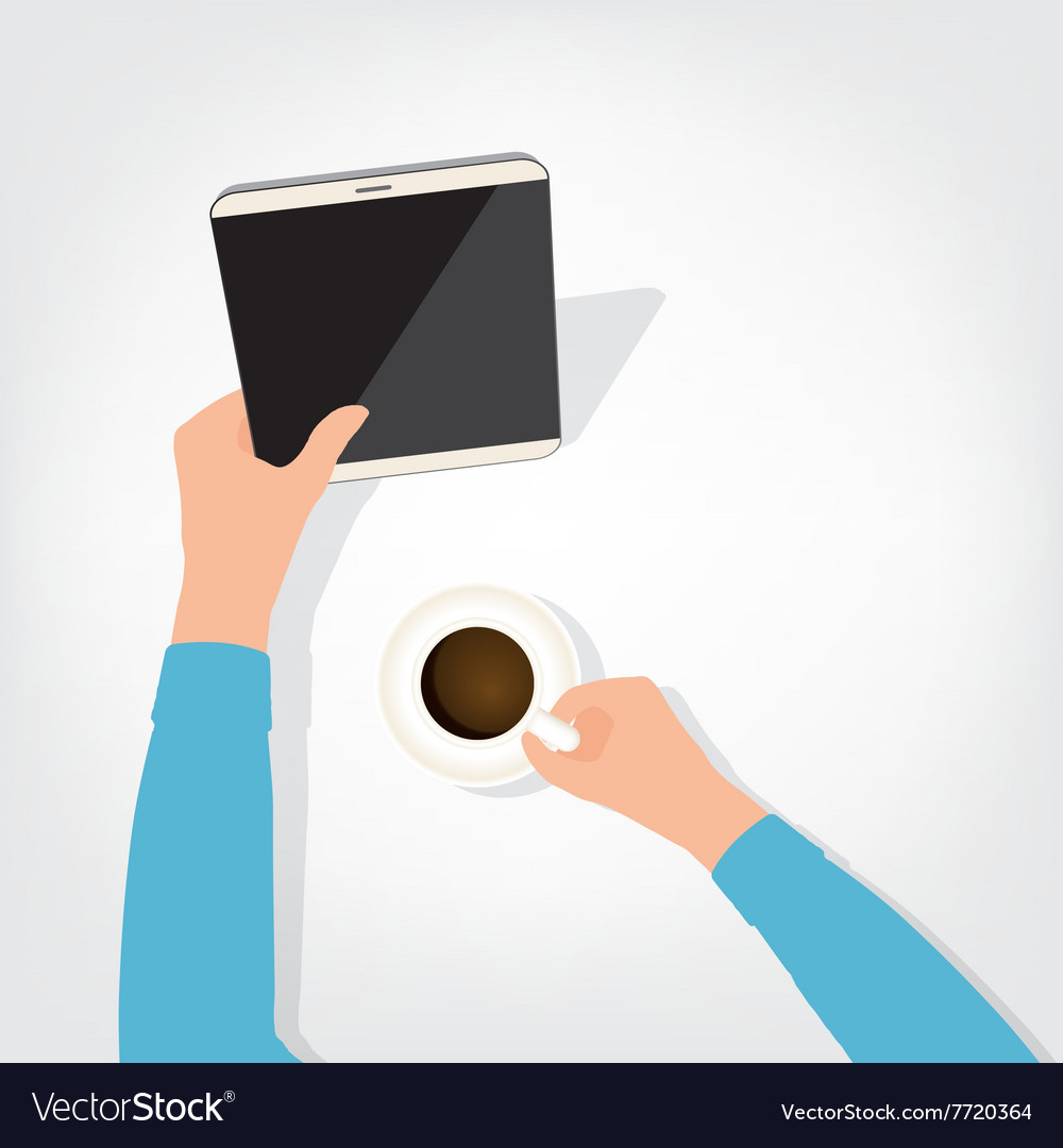 Person using the digital tablet ipad style vector
