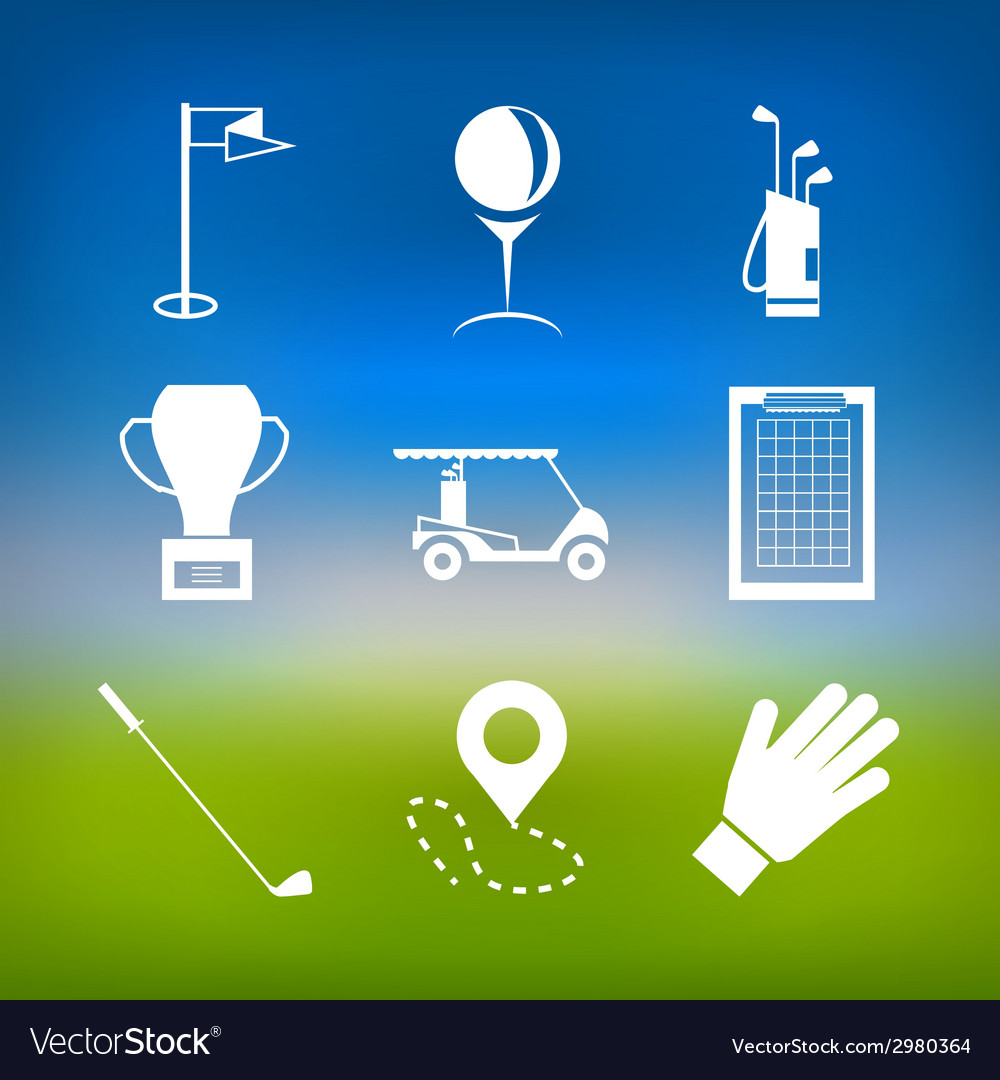 White icons for golf vector