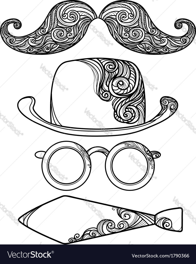 Retro party objects with moustaches isolated on vector