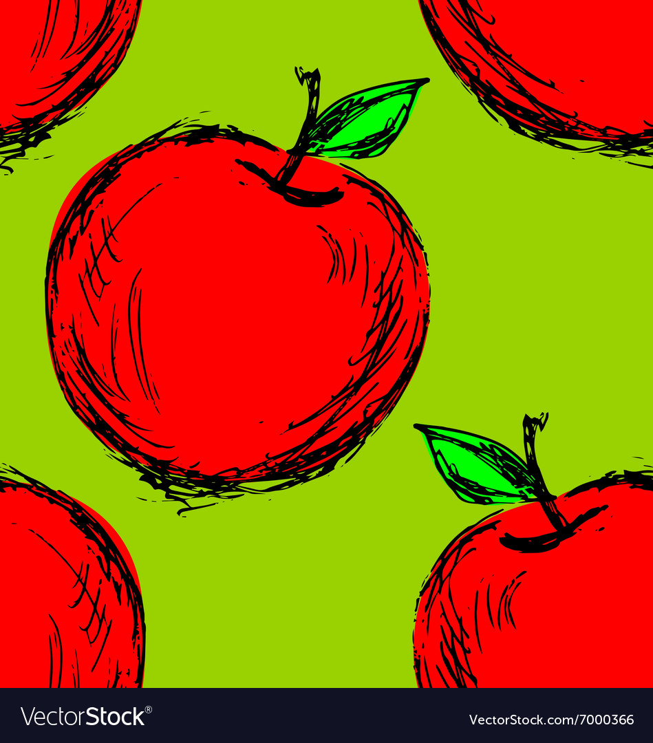 Seamless background with hand drawn apple vector