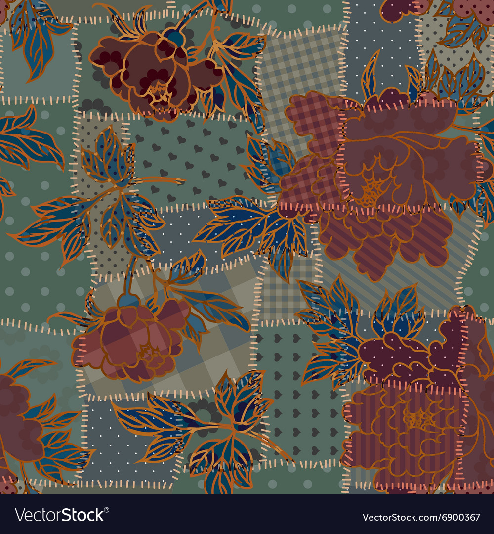Dark patchwork pattern vector