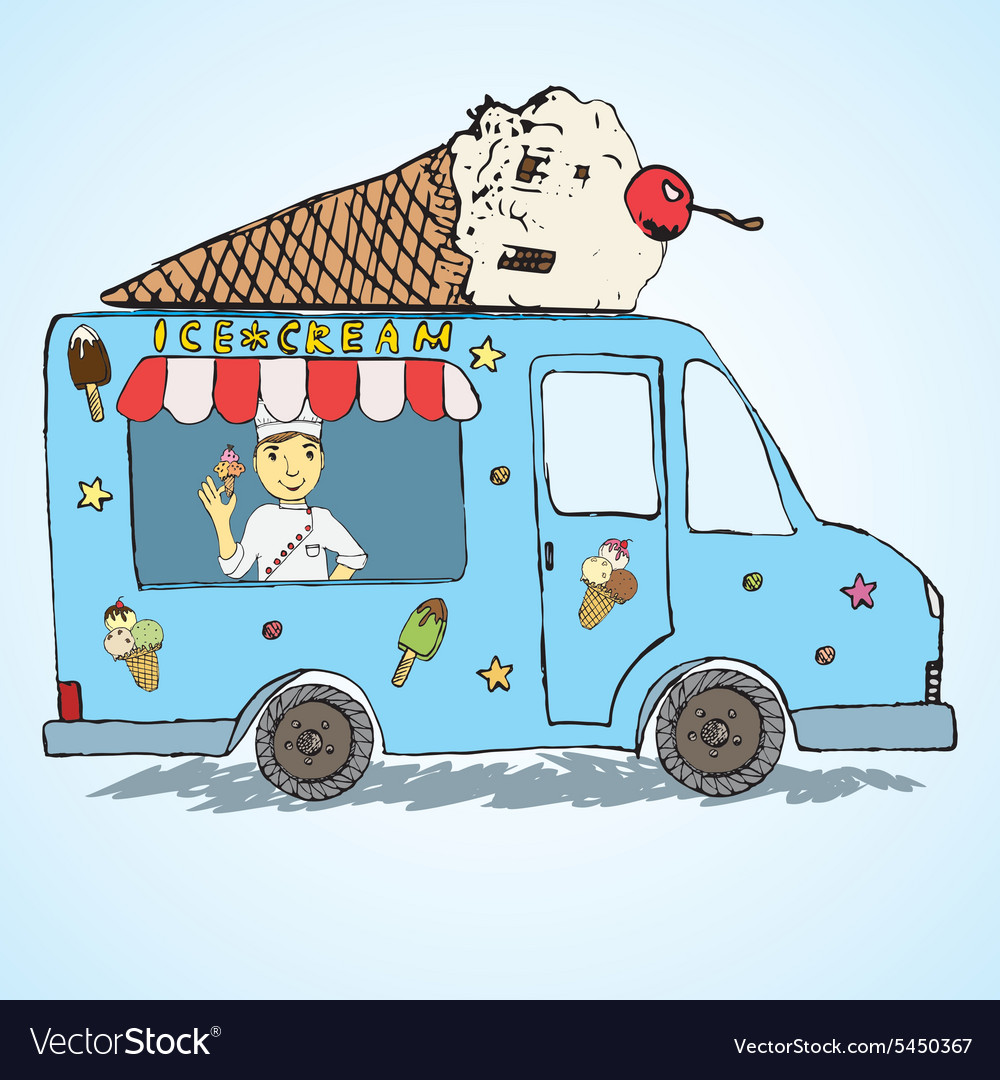 Hand drawn sketch ice cream truck colorfiled and vector