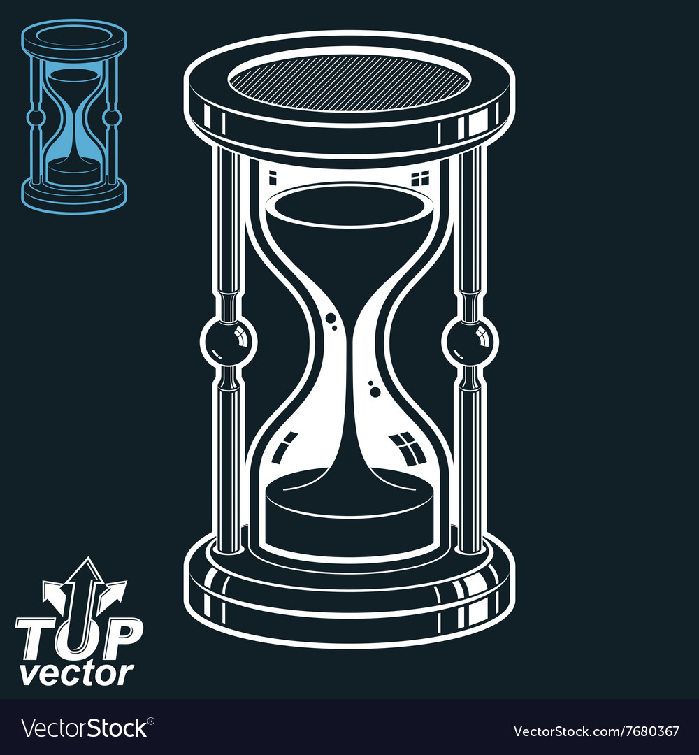 Smooth detailed white sandglass oldfashioned vector