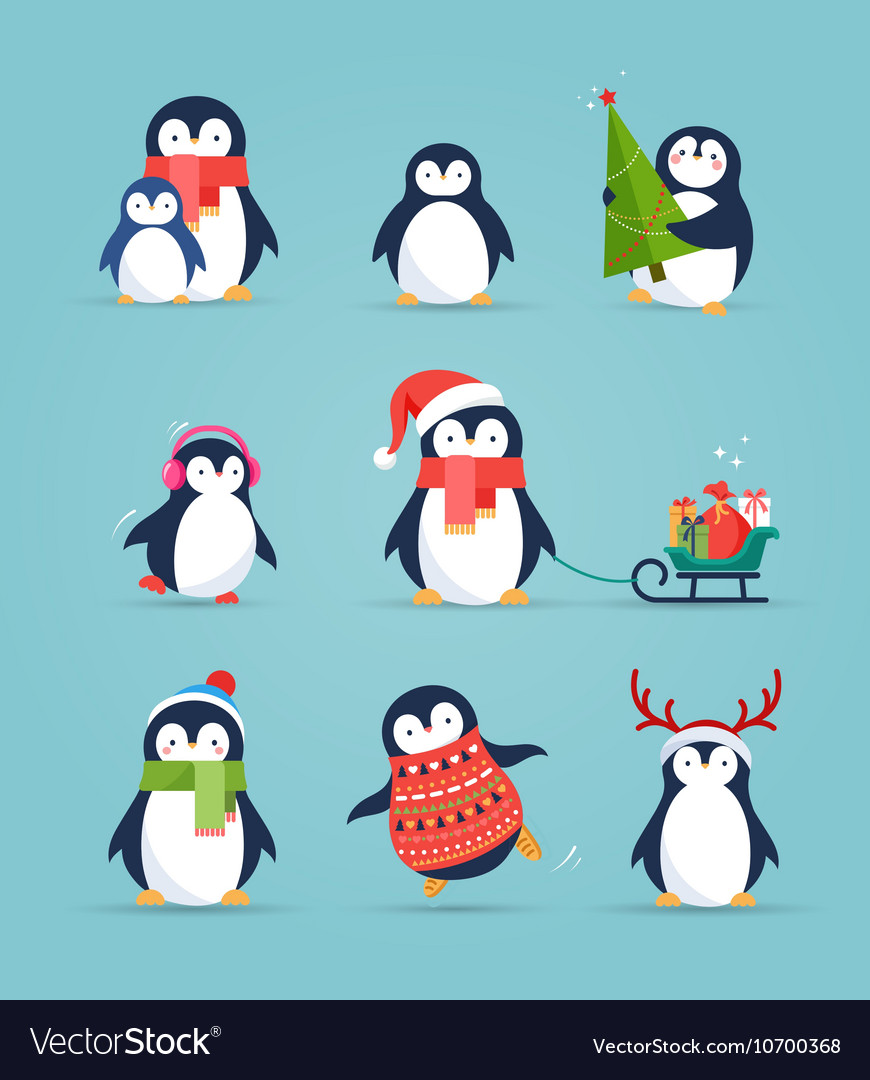 Cute penguins set  merry christmas greetings vector