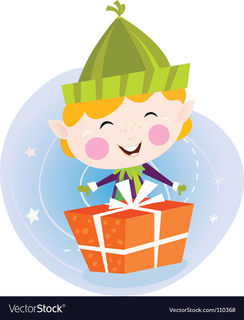 Small christmas elf with present vector