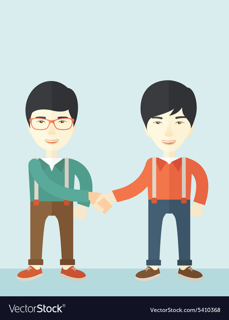 Two asian guys happily handshaking vector
