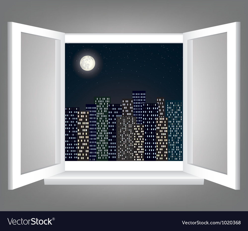 Window and night city vector
