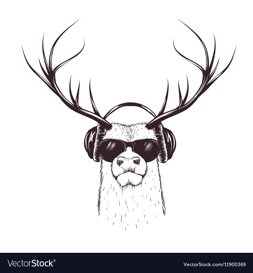 Deer in music headphones vector