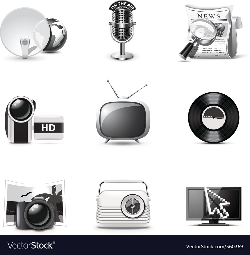 Media icons  bw series vector