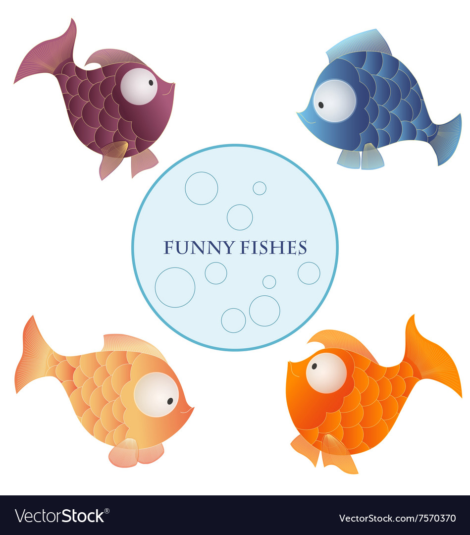 Cartoon characters funny fishes isolated on white vector