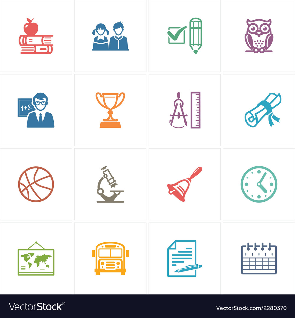School and education icons set 3  colored series vector