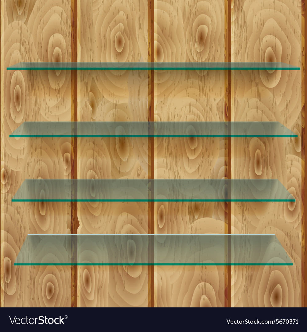 Glass shelves on wooden planks vector