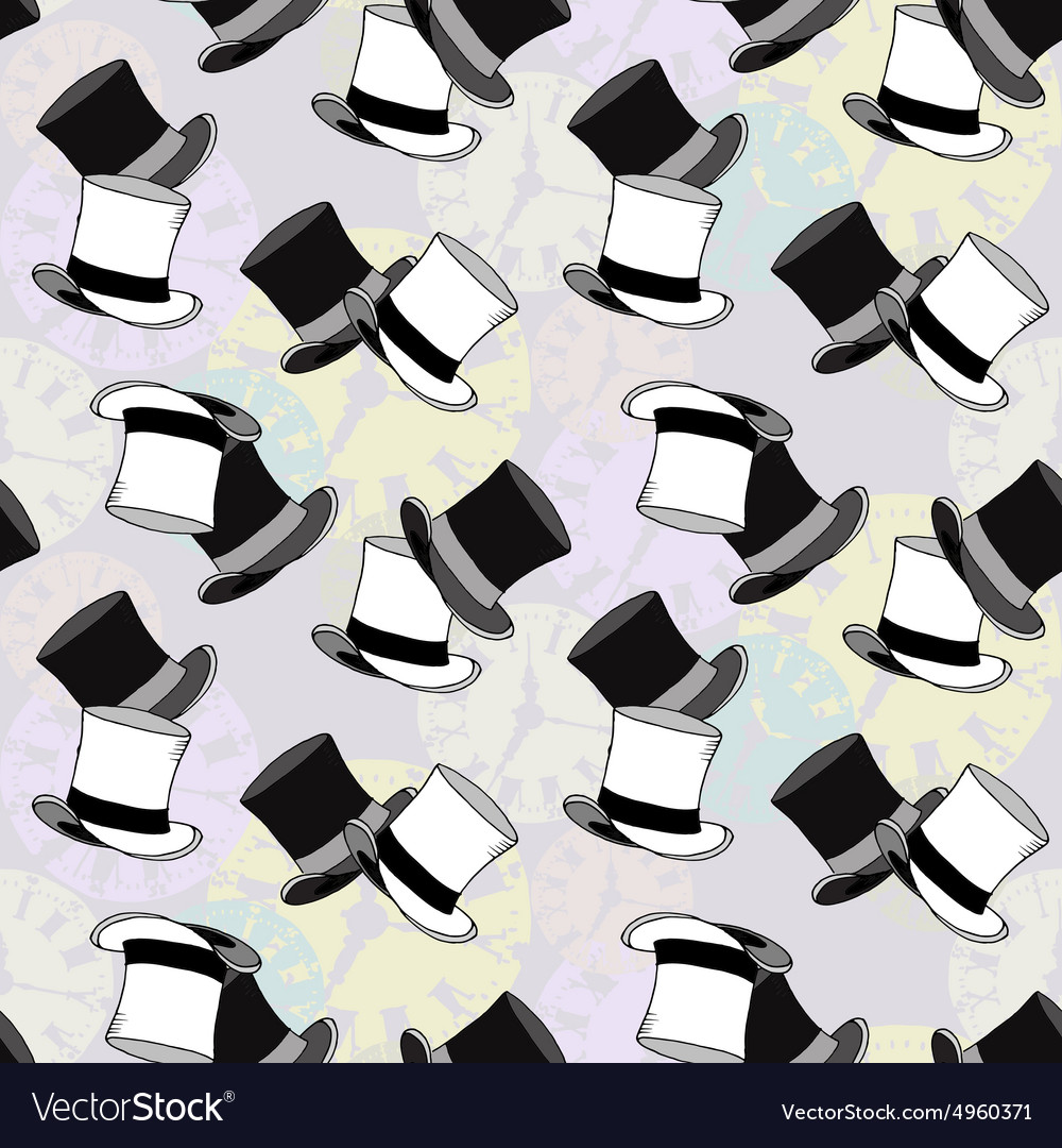Seamless watch hat pattern vector