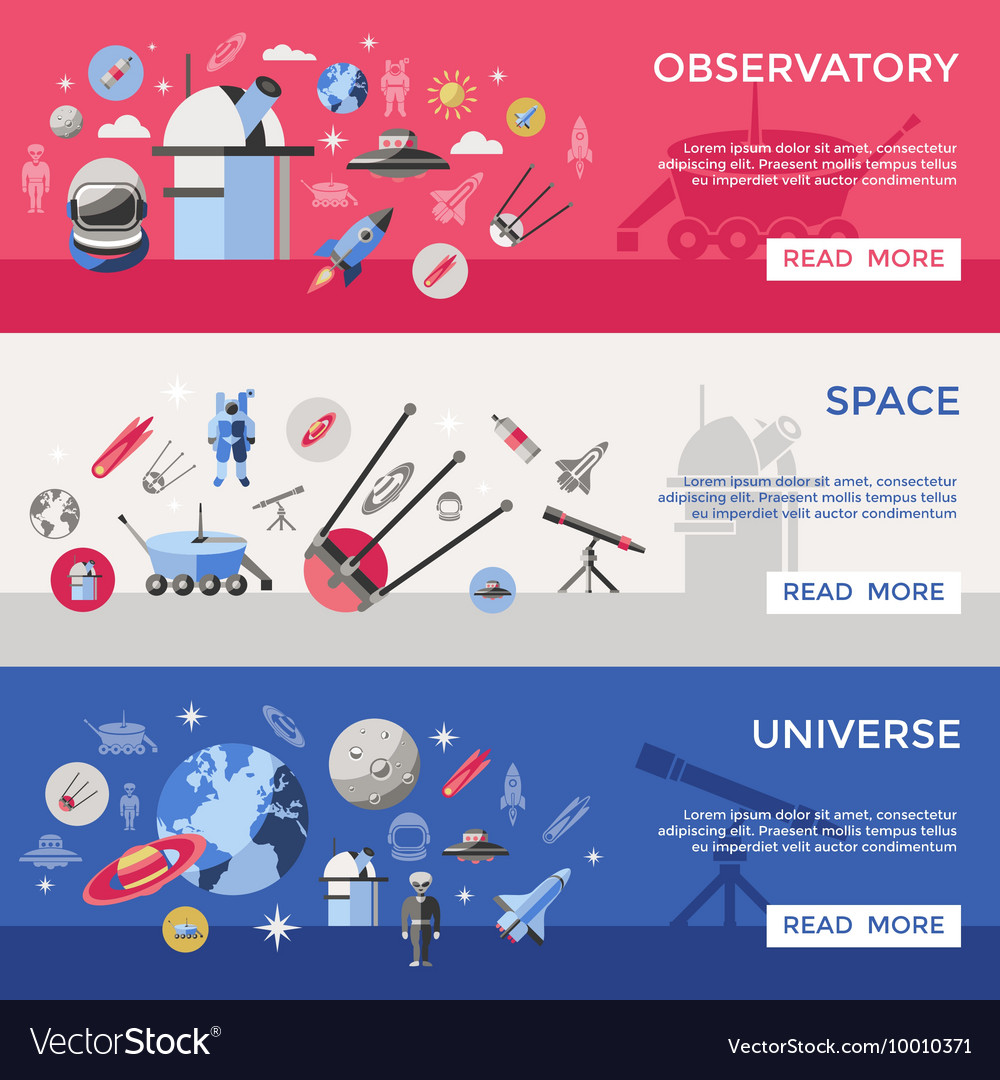 Space banner set vector