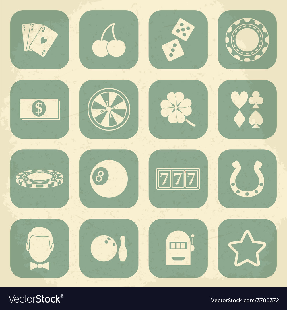 Casino retro icons set vector