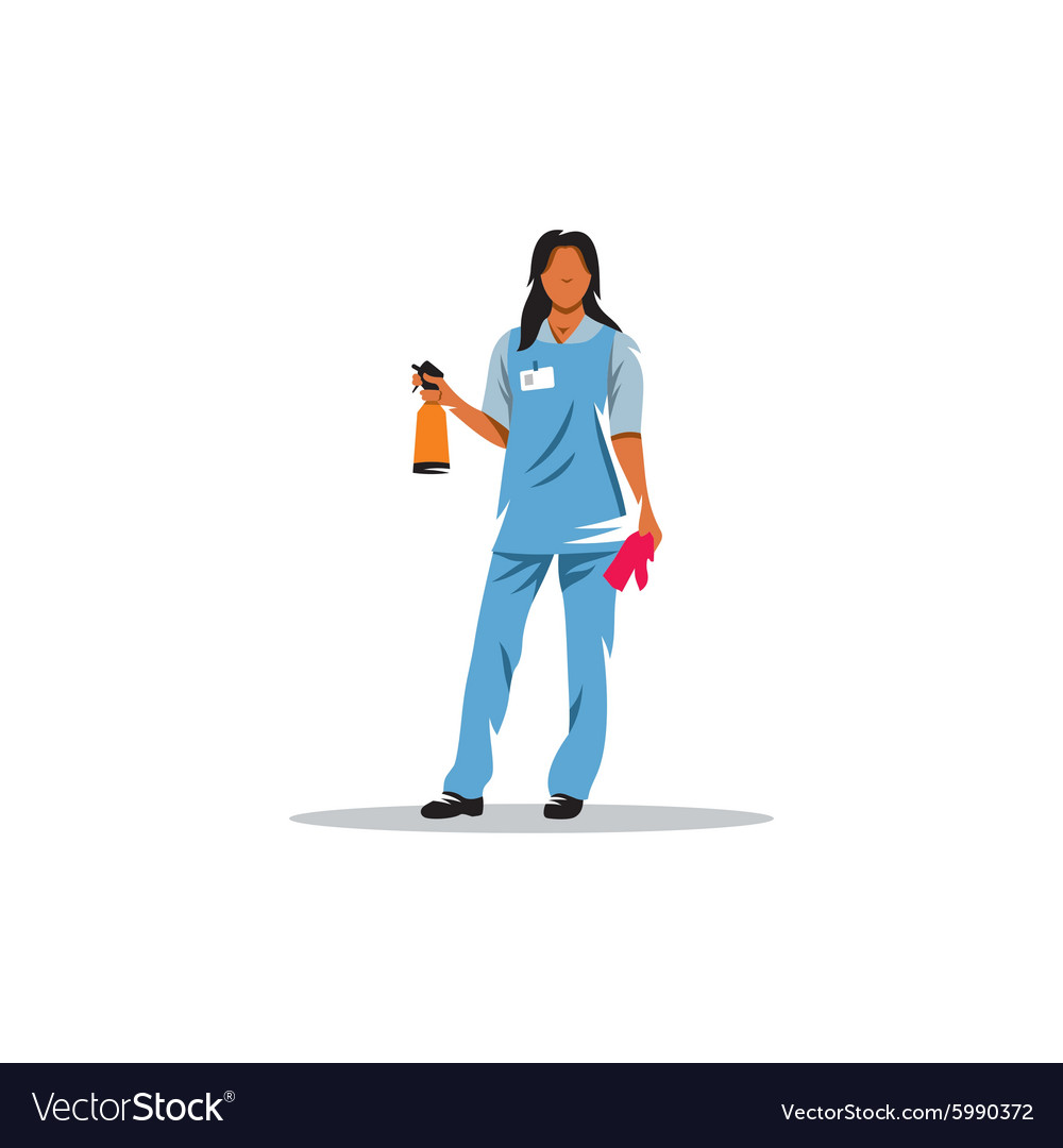 Cleaning service girl with sprayer and a rag vector