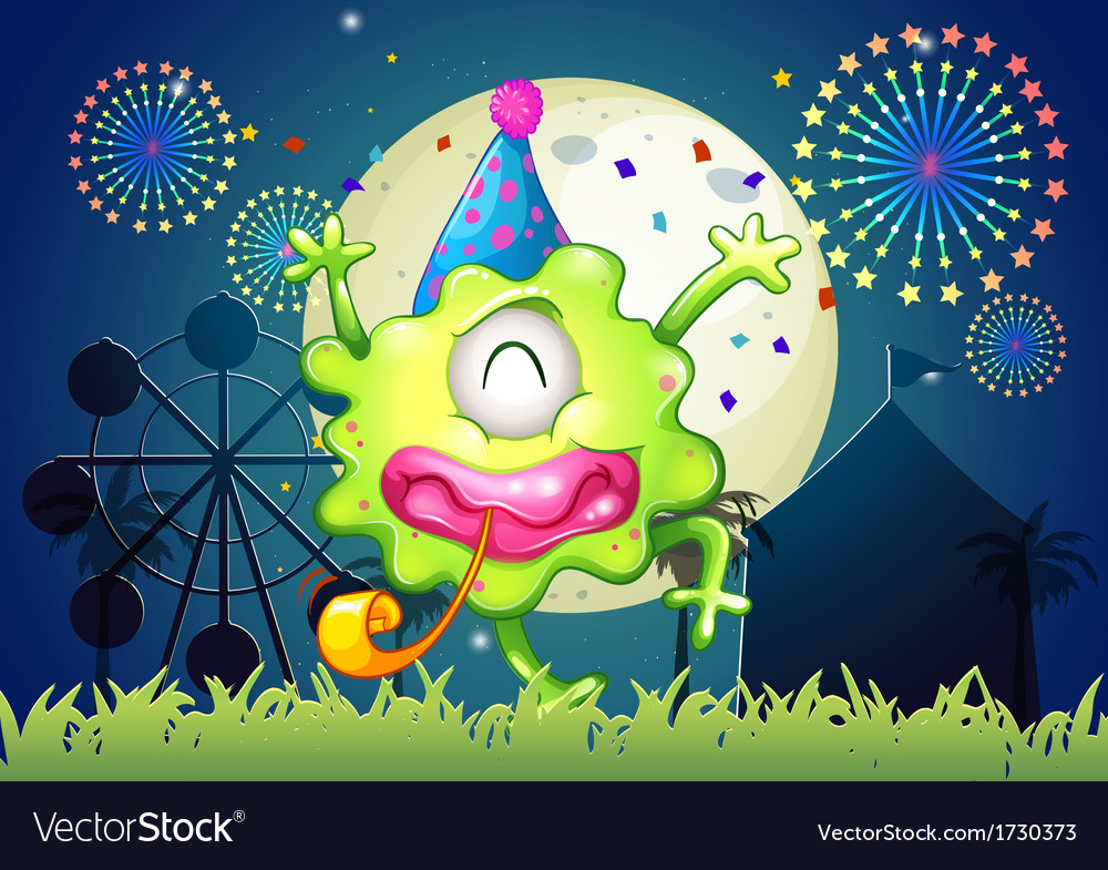 A happy oneeyed monster at the carnival with a vector