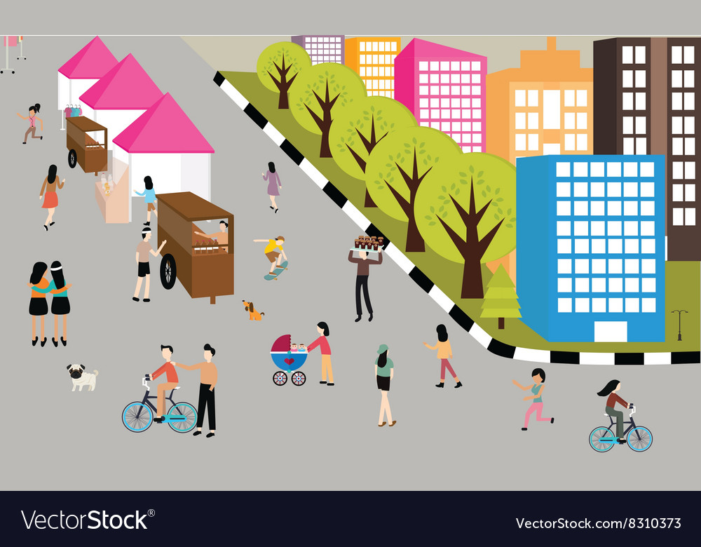 People jogging walking activities road on car free vector