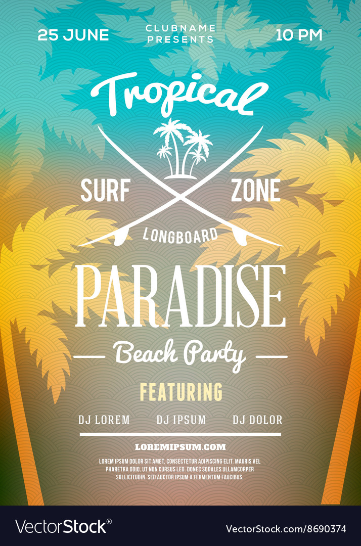 Beach party flyer or poster summer night party vector