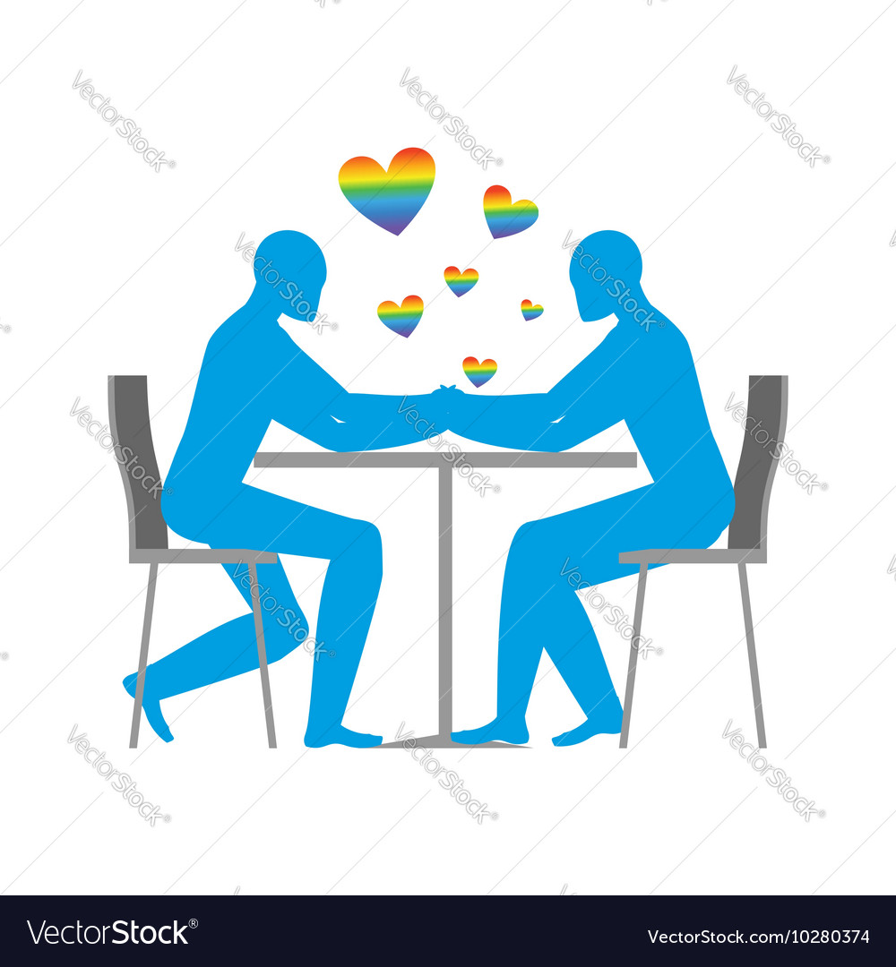 Gays in cafe rainbow heart  symbol of lgbt love vector