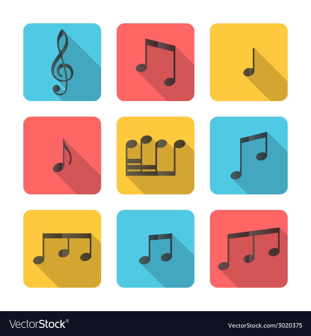 Flat square music icons vector