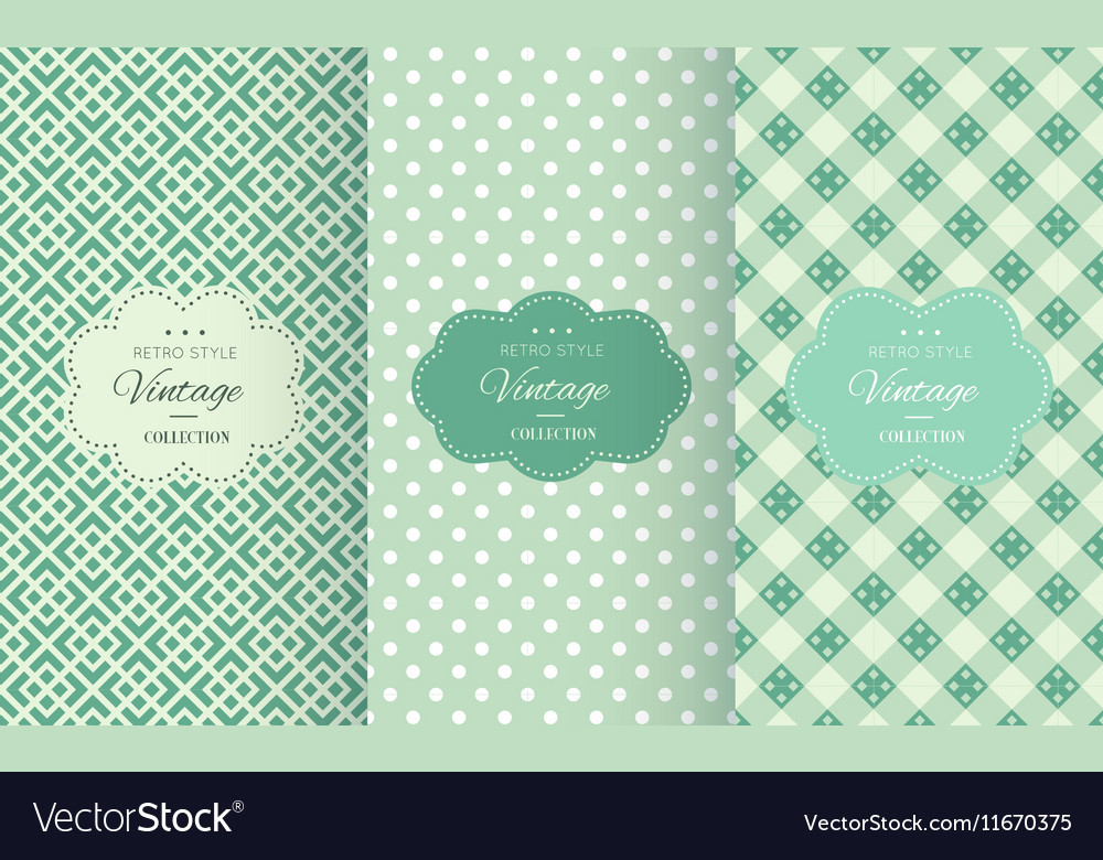 Retro mint and emerald seamless patterns vector