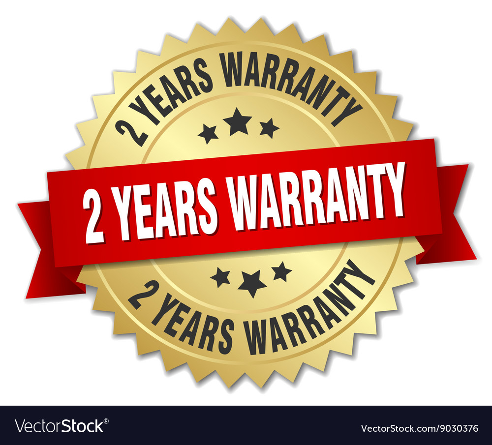2 years warranty 3d gold badge with red ribbon vector
